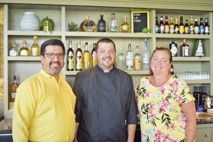 (From left) General manager James Erevia, executive chef Mike Bannister and service manager Celia Sandberg.