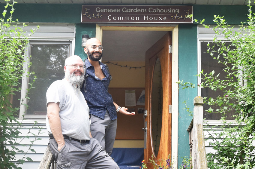 From left, Genessee Gardens Cohousing residents Mike Hamlin and Shawn Gompa.