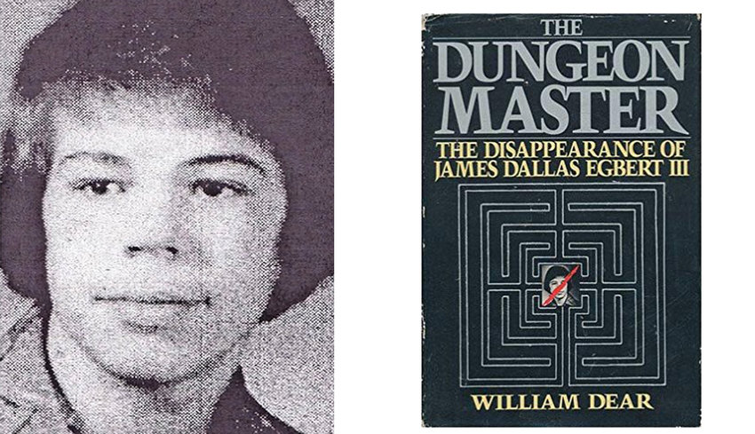 "Headshot of James Dallas Egbert III and the cover to William Dear's book ""The Dungeon Master."""