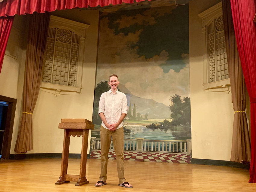 Chad Swan-Badgero, the artistic director for Peppermint Theatre Co., on the company's new stage at Central United Methodist Church.