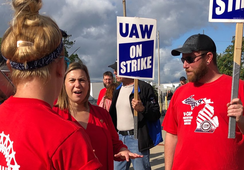 U.S. Rep. Elissa Slotkin, D-Holly, who represents the 8th Congressional District, meets with GM picketers in REO Town.