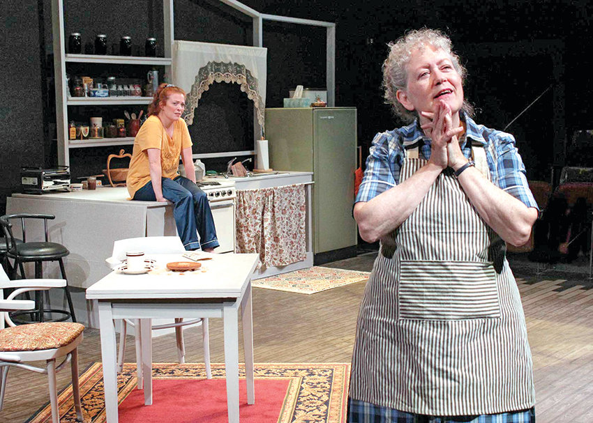 "Dani Cochrane (left) and Karen Sheridan play granddaughter and grandmother in ""Safe House,"" a semi-autobiographical play written by Kristine Thatcher."