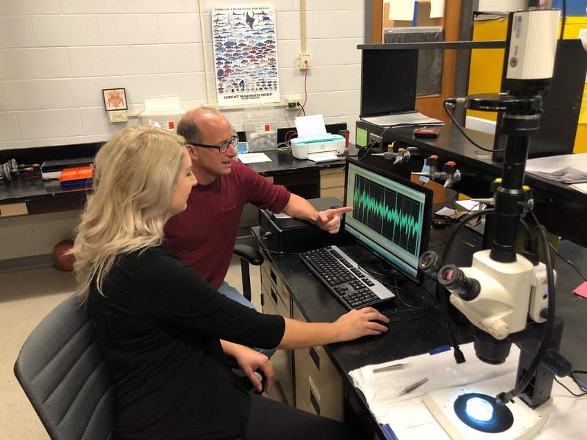 Dennis Higgs and Megan Mickle analyze the spectrogram of boat noise in the Great Lakes