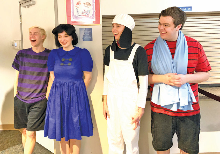 """Cast of """"Charlie Brown"""" backstage (left to right) Robert Mueller as Schroeder, Tricia Rogers as Lucy, Christopher Verhil as Snoopy and Braden Cooley as Linus."""