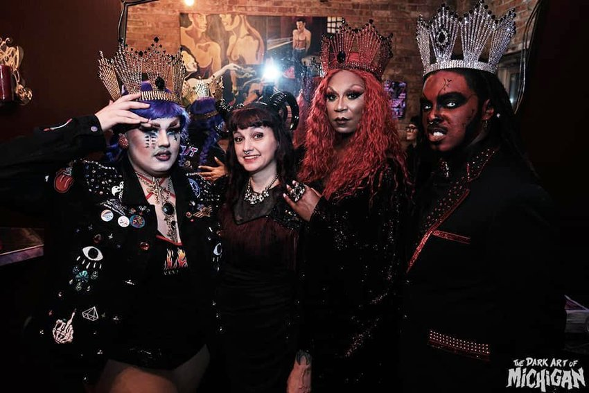 (Left to right) Frequent Dark Art of Michigan Performer Tater Tot Noxious with owner Tiesha King and fellow performers Asio Aviance & Prince Marsallis.