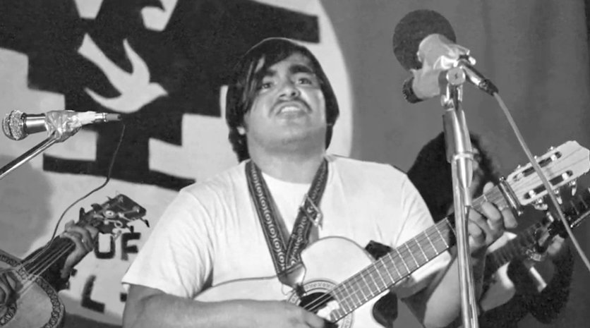 "A still from ""Singing Our Way to Freedom,"" which tells the story of Ramon ""Chunky"" Sanchez, an activist who became known as Caesar Chavez's favorite musician."