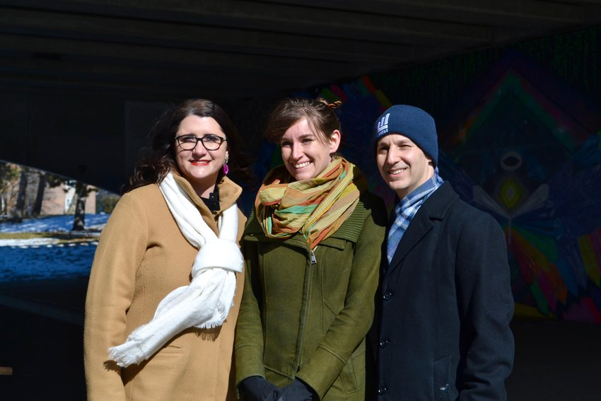 Alexandra Leonard (center) with Arts Council executive director Meghan Martin and Mayor Andy Schor.