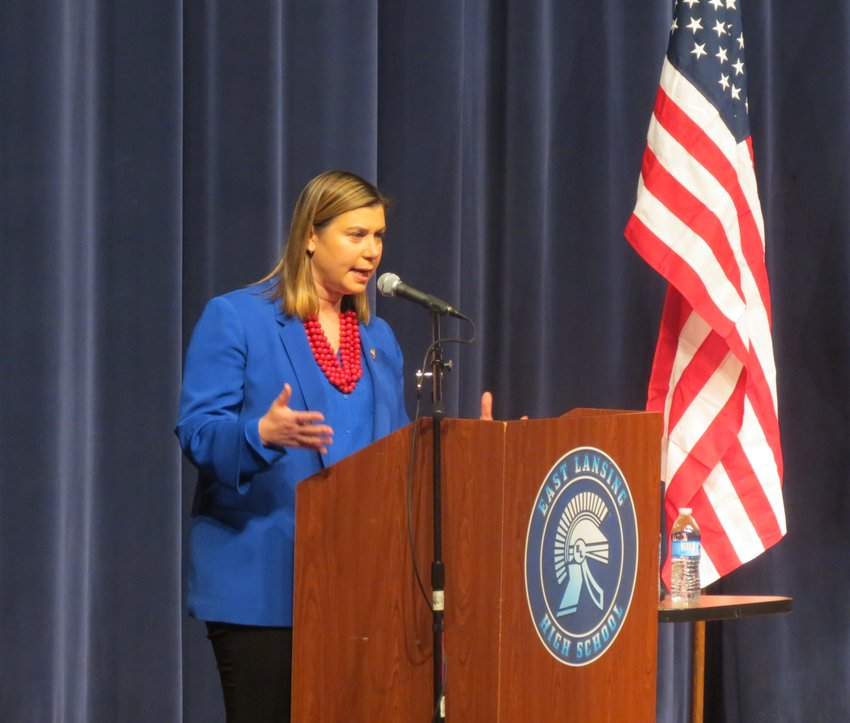 U.S. Rep. Elissa Slotkin speaking at East Lansing High School.
