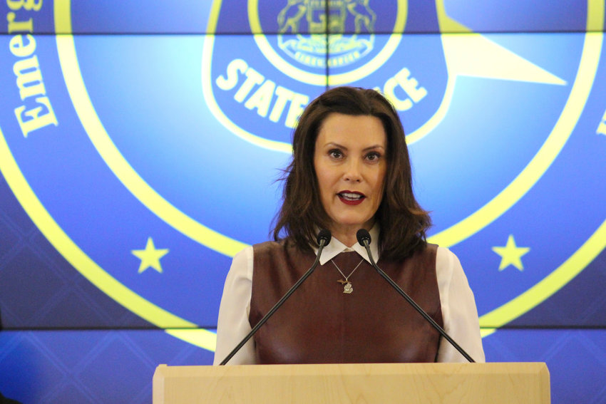 Gov. Gretchen Whitmer speaks about coronavirus during a briefing on Friday.