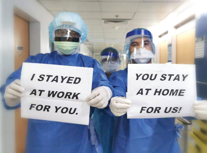 Nurses across the country are using social media to urge Americans to help them do their job by staying home.
