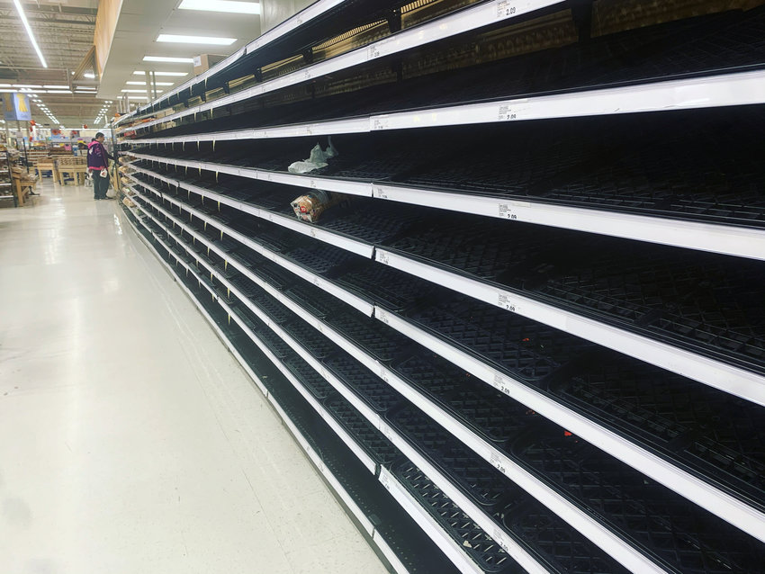An empty bread aisle at Meijer
