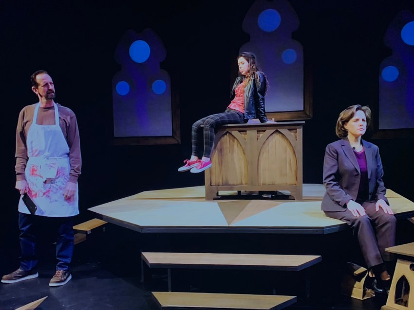 "(Left to right): Mark Colson, Anna Ryzenga and Emily Sutton-Smith in ""These Mortal Hosts."""