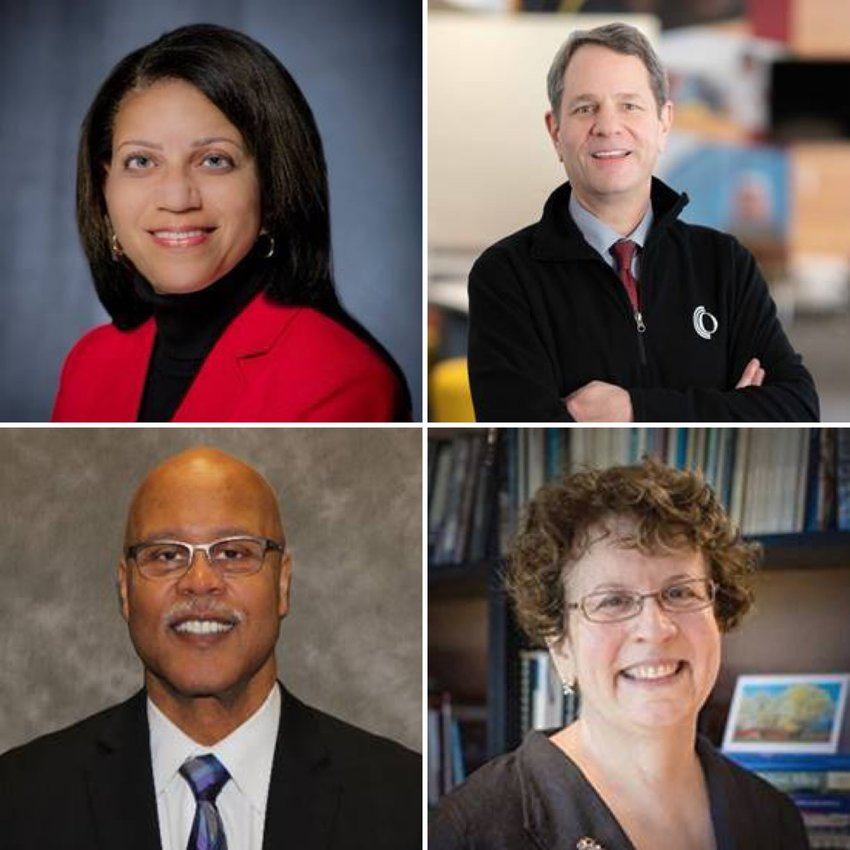 The four finalists for president of Lansing Community College are, clockwise from top right: Steve Robinson, president pf Owens Community College, in Perrysburg, Ohio; Elaine Collins, president, Northern Vermont College; Dale K. Nesbary, president, Muskegon Community College; and Lisa Webb Sharpe, LCC executive Vice President.