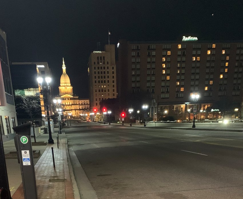 The Radisson hotel in Lansing was lit up in the shape of a heart earlier this month.