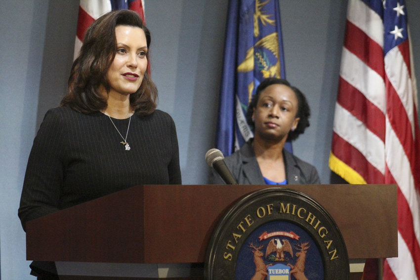 Gov. Gretchen Whitmer speaking at a press conference.