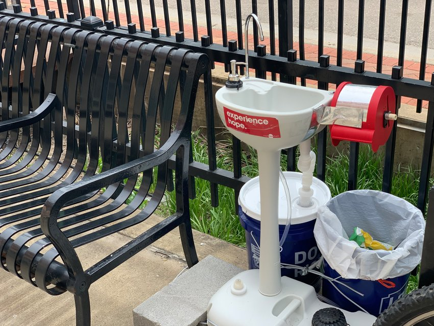 A hand-washing station, a recent donation from Mt. Hope Church, 202 S. Creyts Road, was installed this week in front of the City Rescue Mission, 607 E. Michigan Ave.