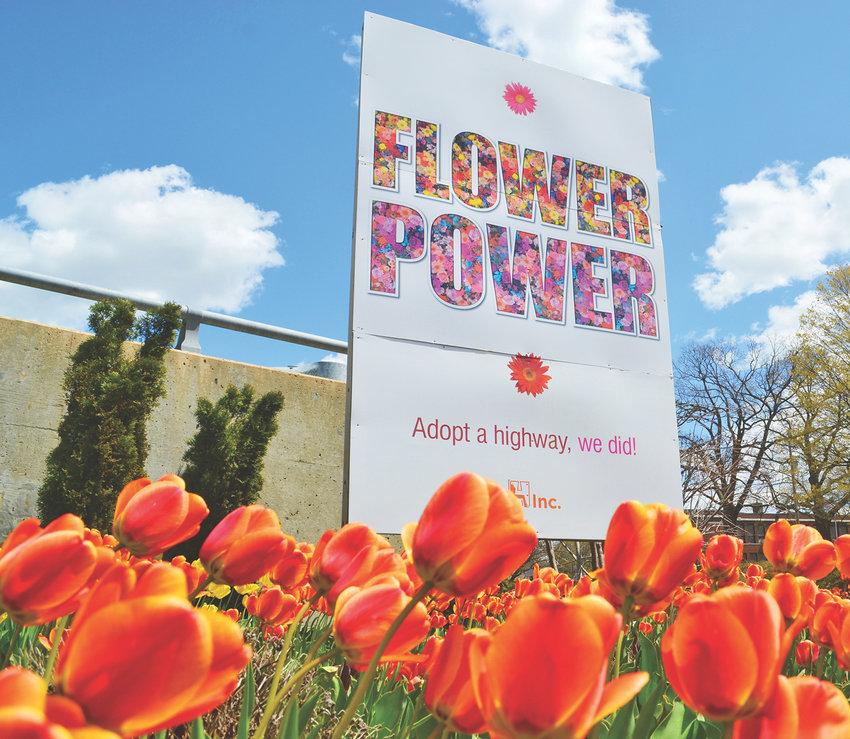 H Inc.'s springtime display at its Motor Wheel Lofts property on Saginaw Street.