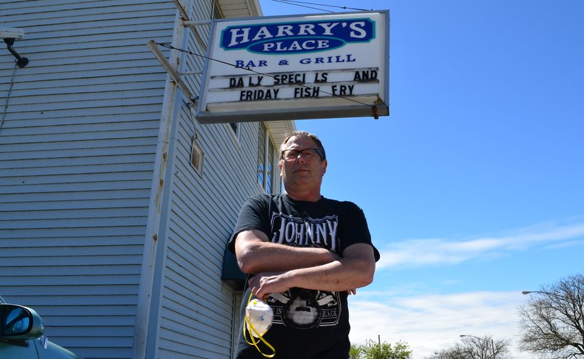 Bob Rose in front of Harry's Place