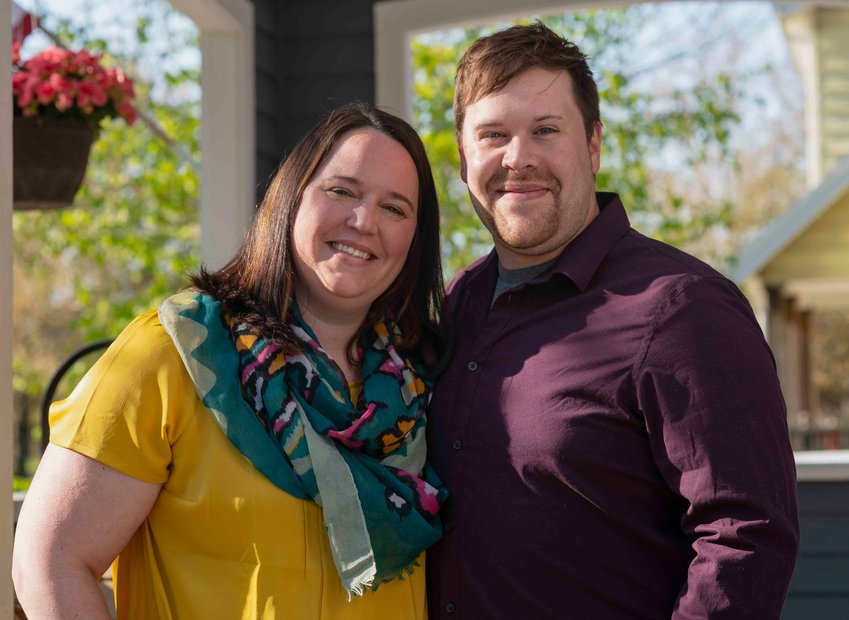 """MelikBrown's""""porch-trait"""" ofEmily and Philip Bergquist."""