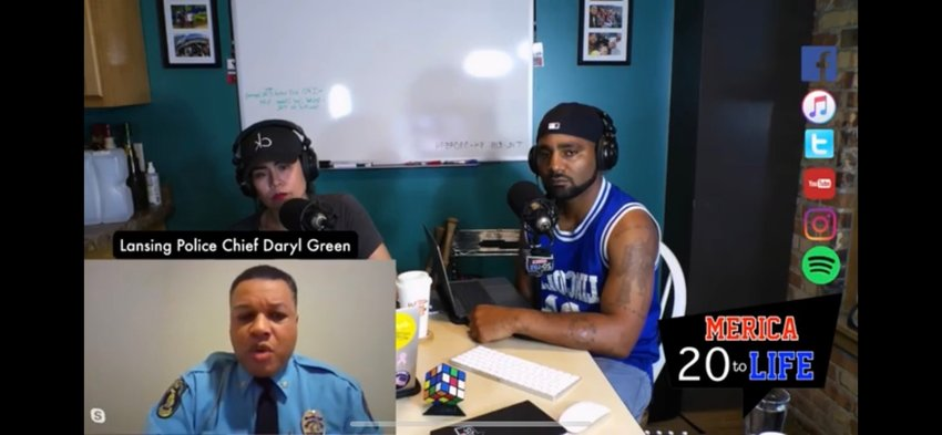 Lansing Police Chief Darryl Green expressed his disgust with the death of George Floyd in Minneapolis when Green appeared on a podcast last night. Pictured with him are the podcast's hosts,Erica and Mike Lynn, a Lansing firefighter.