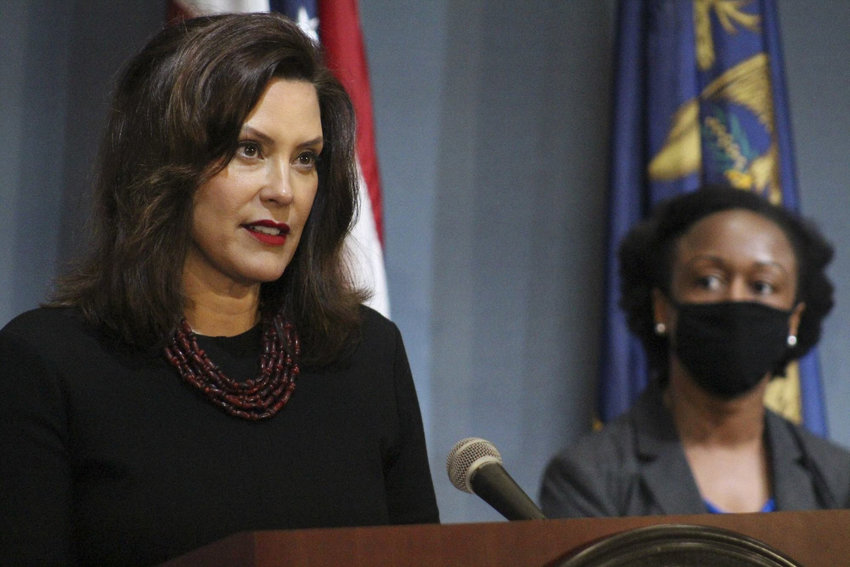 Gov. Gretchen Whitmer announcing the creation of an advisory jobs board today. With her is Dr. Joneigh S. Khaldun, the state's chief medical executive.