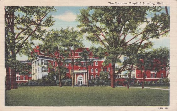 A postcard of the original home of Sparrow Hospital. Gov. Whitmer has lifted the ban on visitors to hospitals.