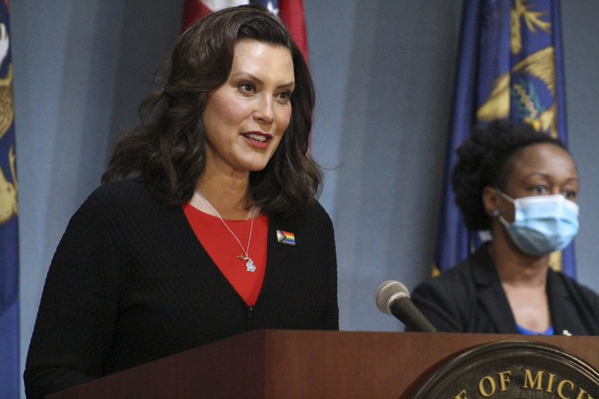 Gov. Gretchen Whitmer announcing today further steps to reopen Michigan