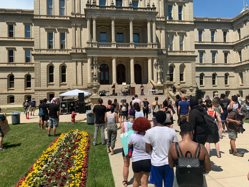 Protesters at the Capitol gathered for a noon rally and march sponsored by Black Lives Matter.