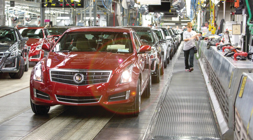 A Cadillac rolls down the line at GM's Lansing Grand River plant.