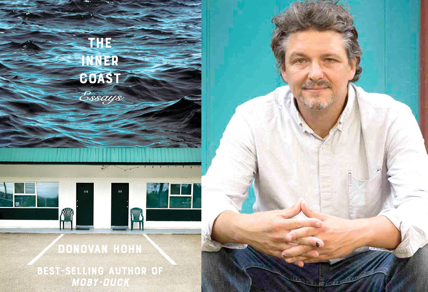 """Author Donovan Hohn and the cover of his latest book, """"The Inner Coast: Essays."""""""