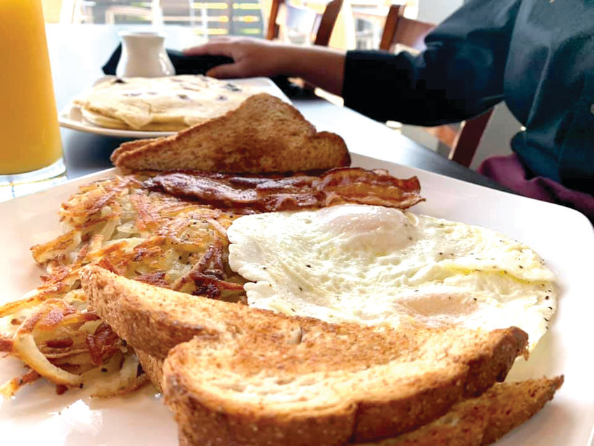 A plate of breakfast from Amer1can Bistro.