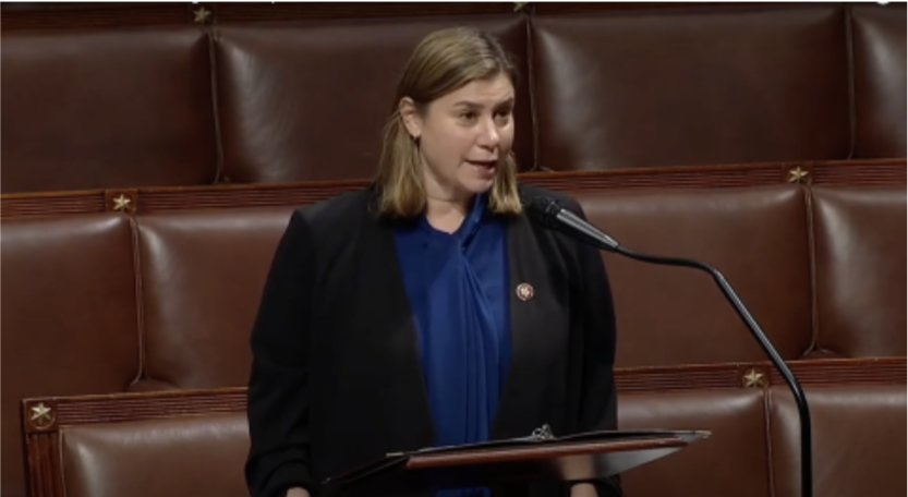 "U.S. Rep. Elissa Slotkin, D-Holly, who represents all of Ingham County, urges support on the House floor for funding to allow Michigan State University to resume its annual ""State of Black Michigan."" The House approved it as an amendment to an appropriations bill that now goes to the Senate."
