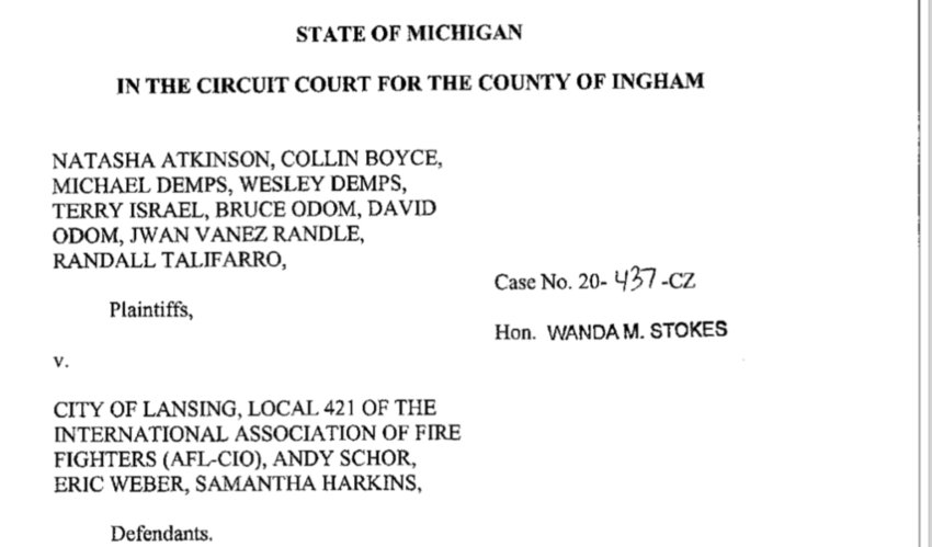 Eight current and former city of Lansing employees are suing the city, the mayor, the firefighters' union and others for racial discrimination.