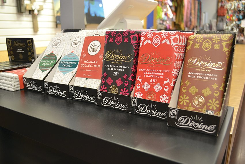 A selection of fair-trade chocolate at Marketplace Manna.