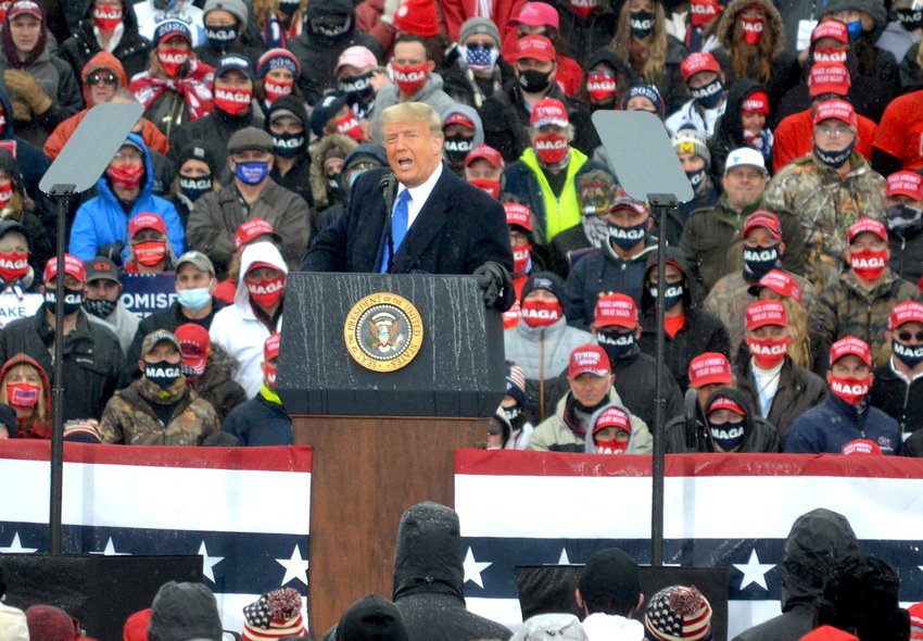President Donald J. Trump during his Lansing Rally.