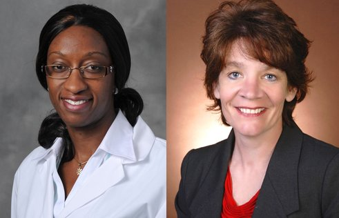 Adenike Shoyinka, Ingham County's chief medical officer, (left) and Ingham County Health Officer Linda Vail.