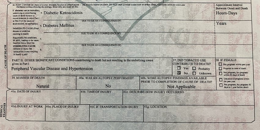 Death certificates in Ingham County often list multiple causes or contributing causes of death.