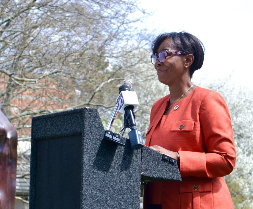 Lansing City Councilwoman Patricia Spitzley announces her campaign for mayor at Wentworth Park on Wednesday.