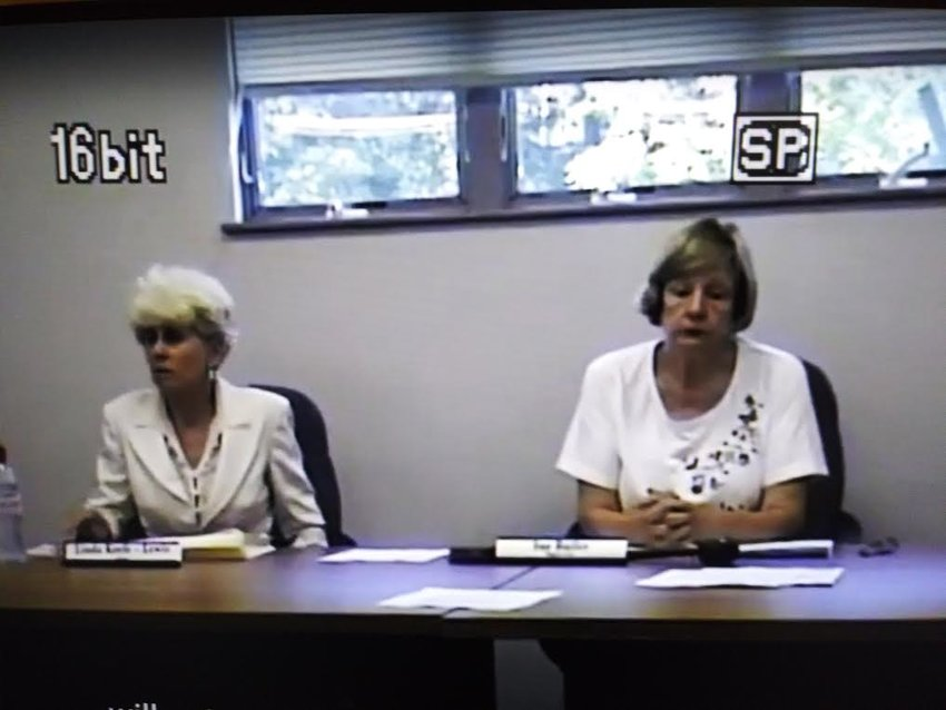 A screen grab of Linda Keefe (left) during a meeting of the Windsor Township Board of Trustees. The meeting was held weeks before her position was declared vacant by the board, resulting in Keefe's removal.