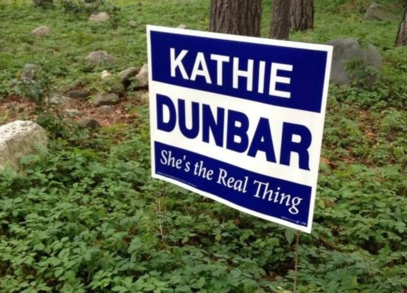 Campaign signs for mayoral candidate Kathie Dunbar began appearing this month in Lansing.