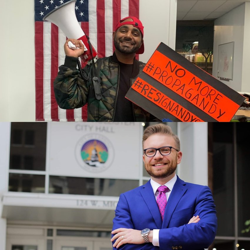 """Activist Michael Lynn Jr. (above) apologized after calling City Council President Peter Spadafore (below) a """"hissy bitch"""""""