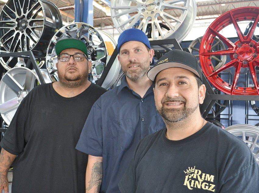 (From left) Rim Kingz co-owners Sam Perez, Lester VanWormer and Armando Nero.