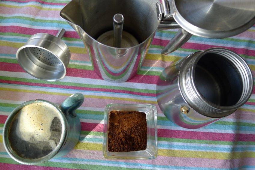 Ari LeVaux uses a Moka pot setup to brew delicious gourmet coffee at home.
