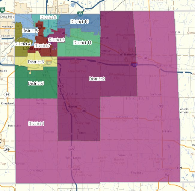 Proposed reapportionment map from Ingham County Clerk Barb Byrum.