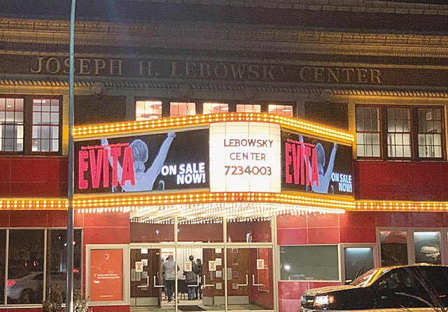"""""""Evita"""" headlines the flashy marquee at the Lebowsky Center for Performing Arts in Owosso."""