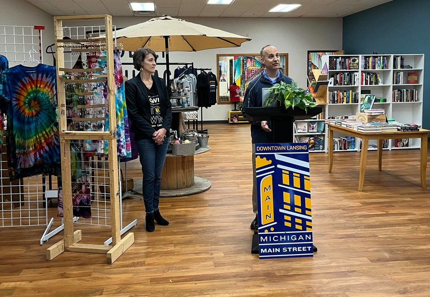 Mayor Andy Schor at the grand opening of the Middle Village Micro Market.