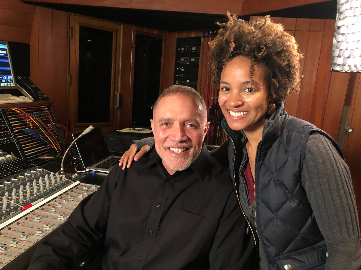 """Us"" composer Michael Abels and Lansing violinist Melissa White."