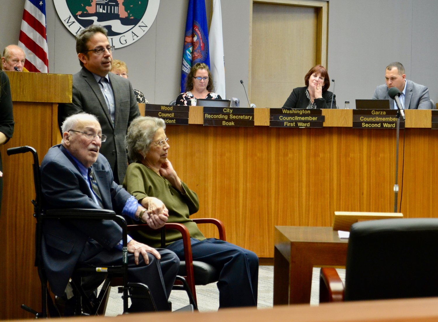 "The Lansing City Council renamed its chambers tonight to celebrate former City Councilman and Mayor Tony Benavides. The tenth floor of Lansing City Hall was nearly filled to capacity as Mayor Andy Schor unveiled a new plaque in Benavides' honor and later proclaimed May 6, 2019 as ""Mayor Tony Benavides Day."""