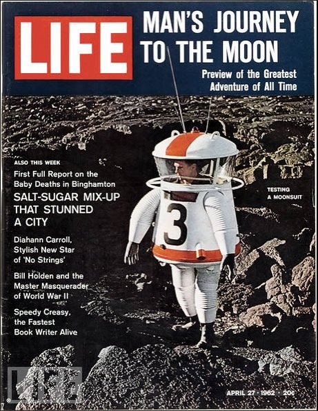 Allyn Hazard appeared in his moon suit on the cover of Life Magazine April 27, 1962.