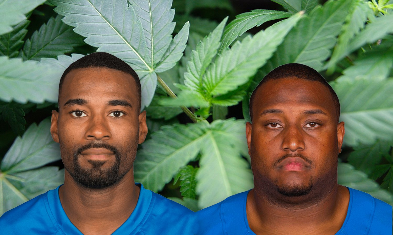 Former Detroit Lions players Calvin Johnson (left) and Robert Sims.